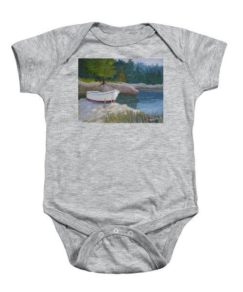 Boat On Tidal River Baby Onesie