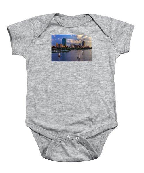 Boston Skyline Baby Onesie by Rick Berk