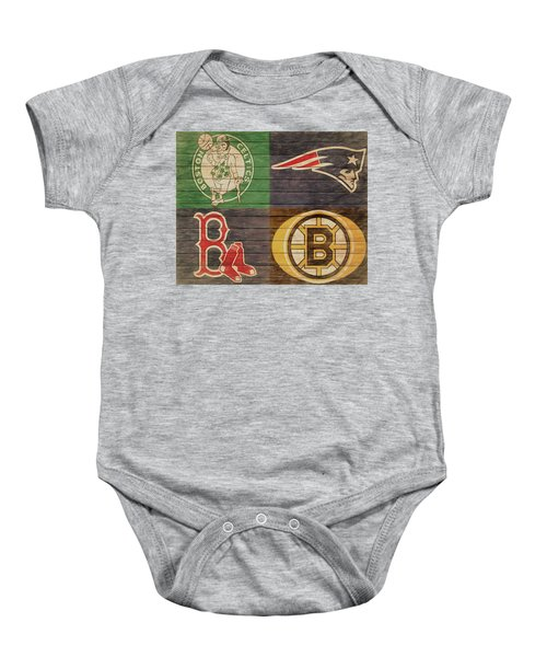 Boston Sports Teams Barn Door Baby Onesie
