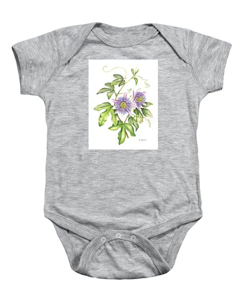 Botanical Illustration Passion Flower Baby Onesie
