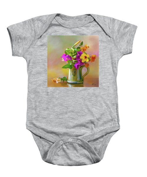 Bougainvilleas In A Green Jar. Baby Onesie