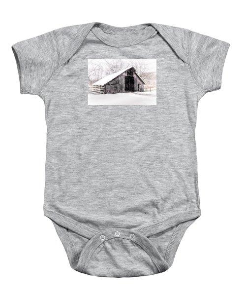Boxley Snow Barn Baby Onesie