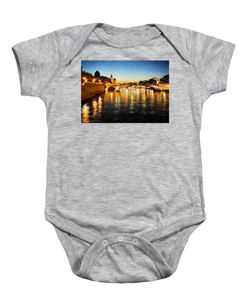 Baby Onesie featuring the digital art Bridge Over The Seine by Charmaine Zoe