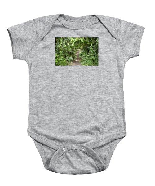 Bright Path In Leafy Forest Baby Onesie