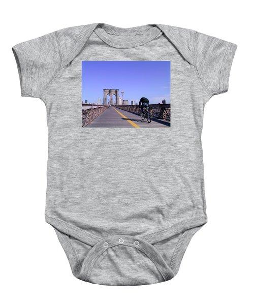 Brooklyn Bridge Bicyclist Baby Onesie