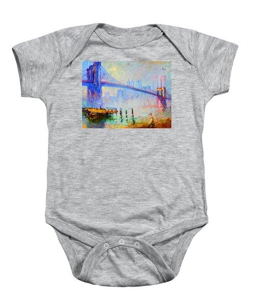 Brooklyn Bridge In A Foggy Morning Baby Onesie by Ylli Haruni