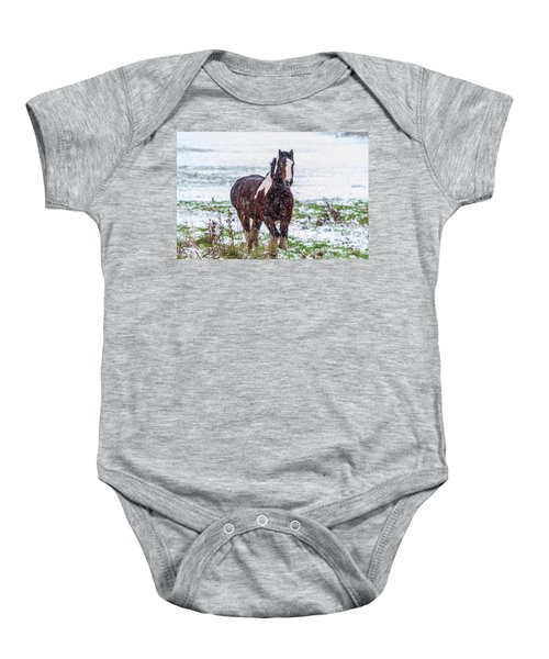 Brown Horse Galloping Through The Snow Baby Onesie