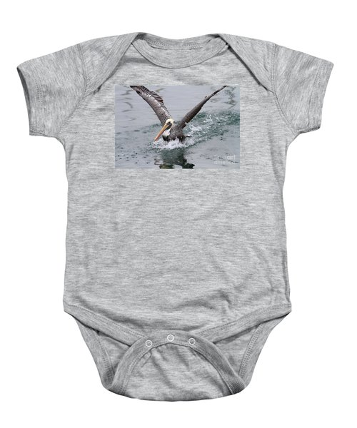 Brown Pelican Landing On Water . 7d8372 Baby Onesie