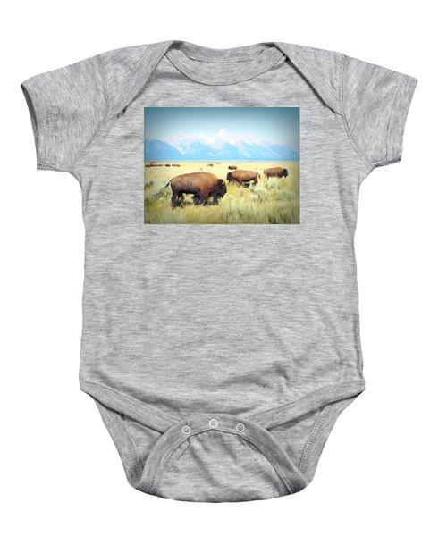 Buffalo Roam, Smokey Grand Tetons, Wyoming Baby Onesie