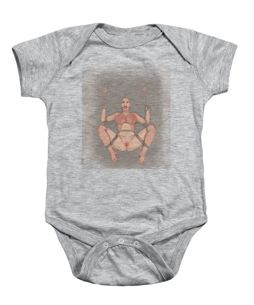 Baby Onesie featuring the mixed media Bug On Its Back 2 by TortureLord Art