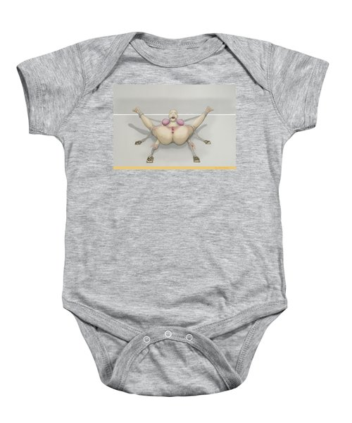Baby Onesie featuring the mixed media Bug On Its Back by TortureLord Art