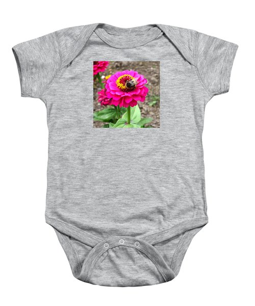 Bumble Bee On Pink Flower Baby Onesie