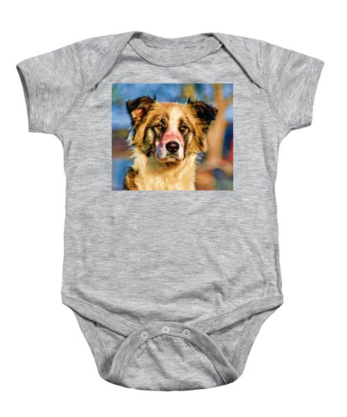Buster Dog Viewing The Sunset Baby Onesie by Lucky Chen