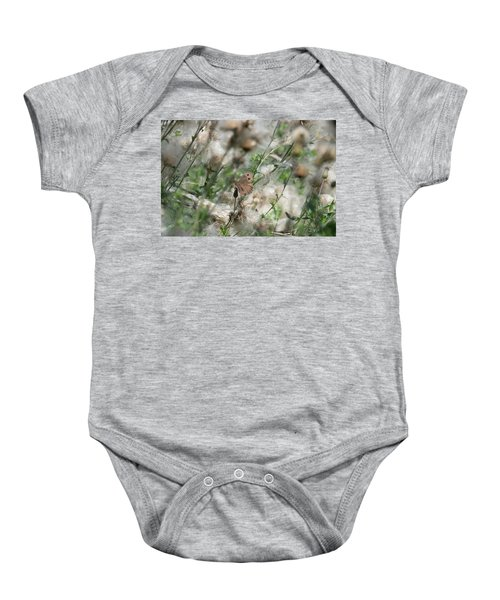 Butterfly In Puffy Seed Heads Baby Onesie