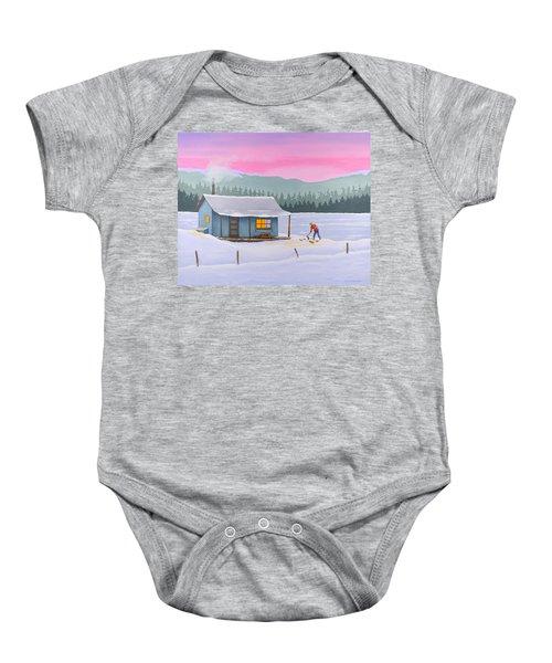 Cabin On A Frozen Lake Baby Onesie