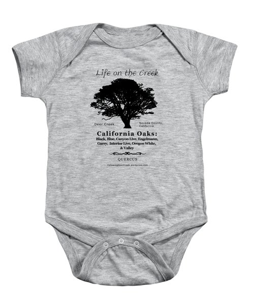 California Oak Trees - Black Text Baby Onesie