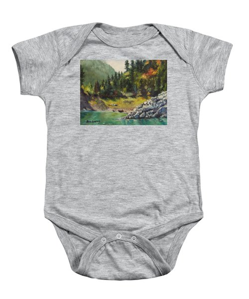 Camping On The Lake Shore Baby Onesie