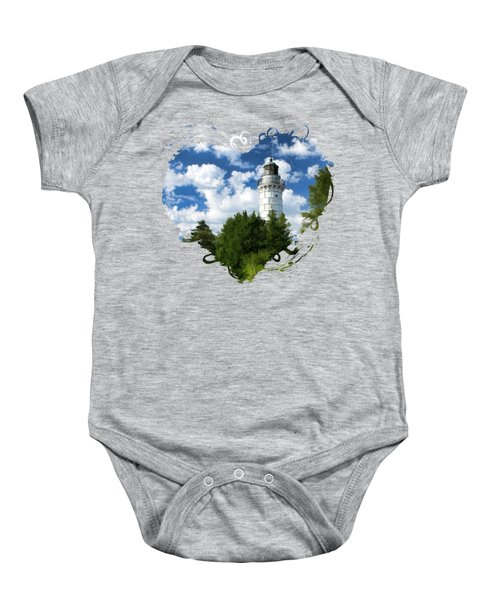 Cana Island Lighthouse Cloudscape In Door County Baby Onesie by Christopher Arndt