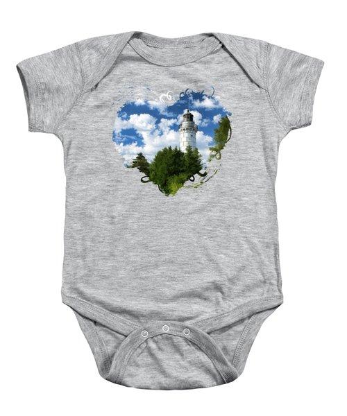 Cana Island Lighthouse Cloudscape In Door County Baby Onesie