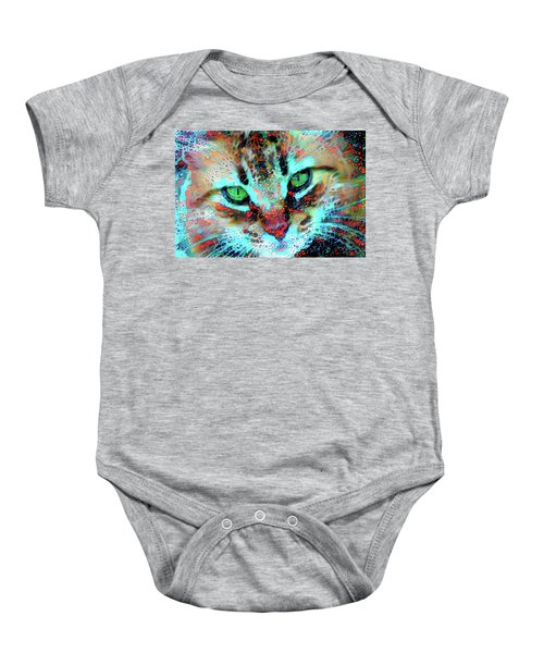 Candy The Colorful Green Eyed Cat Baby Onesie