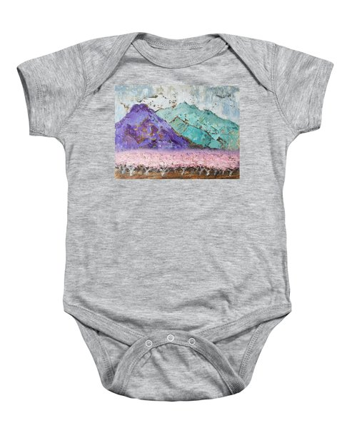 Canigou With Blooming Peach Trees Baby Onesie