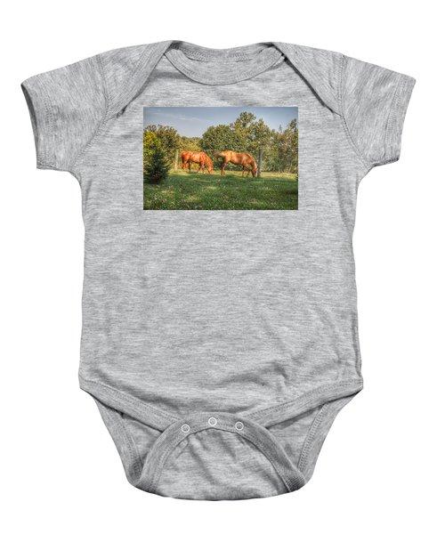 1006 - Caramel Horses I Baby Onesie