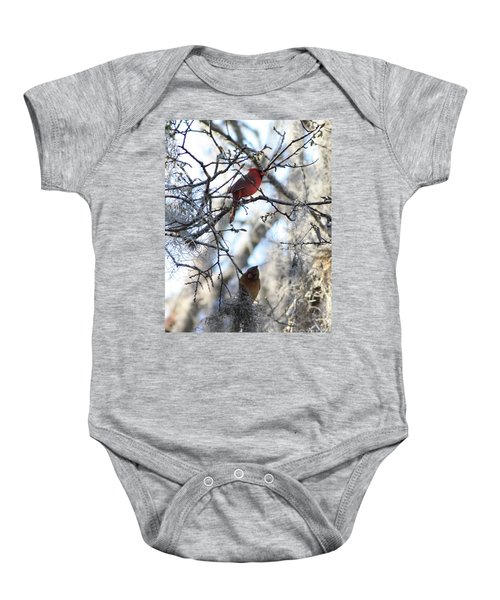 Cardinals In Mossy Tree Baby Onesie by Carol Groenen