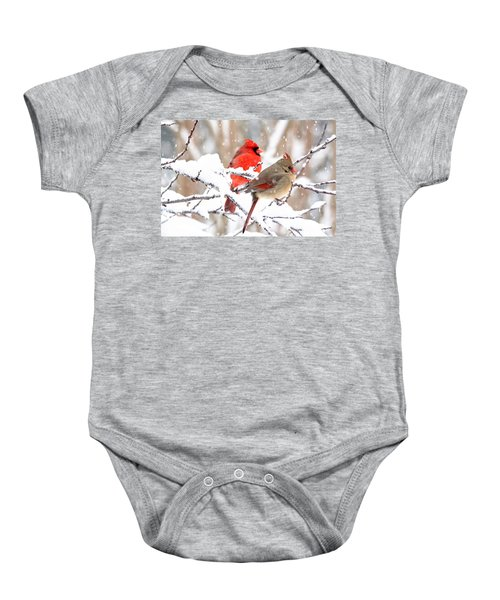 Cardinals In The Winter Baby Onesie
