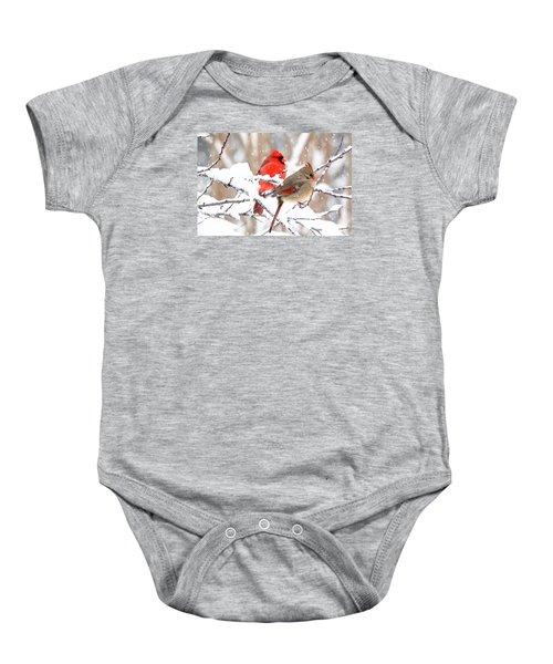 Cardinals In The Winter Baby Onesie