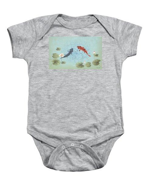 Carp In Lily Pond Baby Onesie