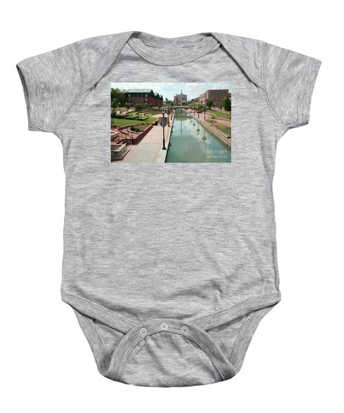 Carroll Creek Park In Frederick Maryland With Watercolor Effect Baby Onesie