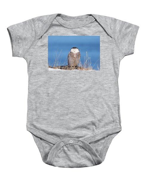 Centered Snowy Owl Baby Onesie