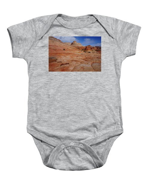 Checkered Red Rock Baby Onesie