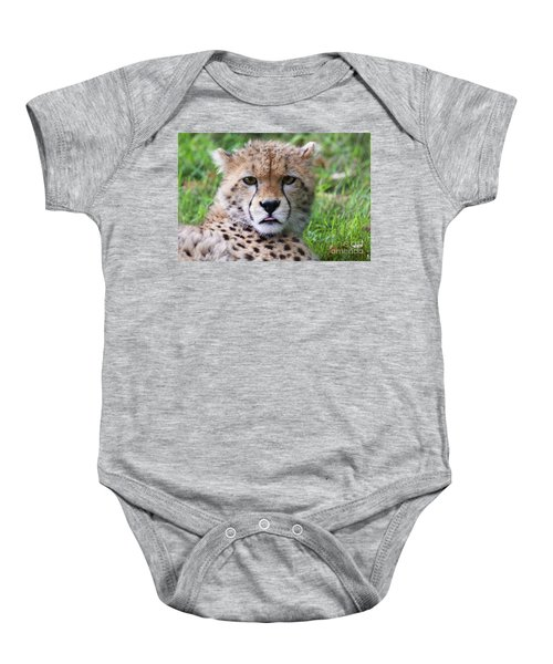 Baby Onesie featuring the photograph Cheetah by MGL Meiklejohn Graphics Licensing
