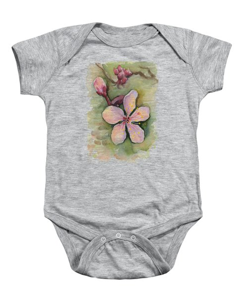 Cherry Blossom Watercolor Baby Onesie
