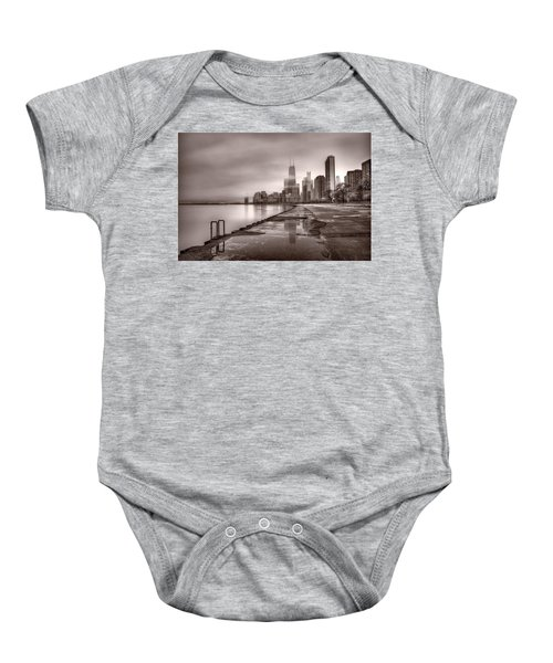 Chicago Foggy Lakefront Bw Baby Onesie
