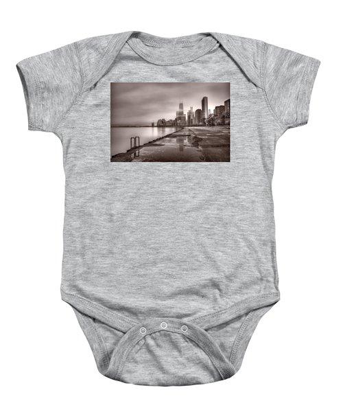 Chicago Foggy Lakefront Bw Baby Onesie by Steve Gadomski