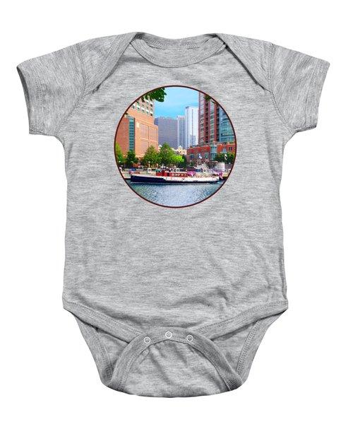 Chicago Il - Chicago River Near Centennial Fountain Baby Onesie by Susan Savad