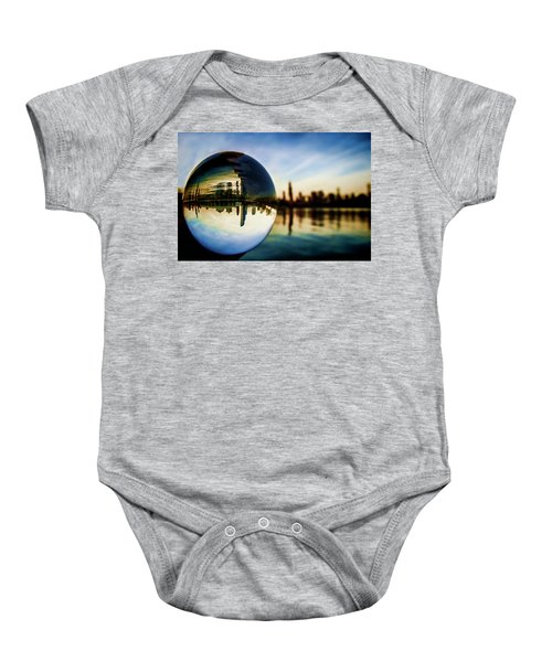 Chicago Skyline Though A Glass Ball Baby Onesie