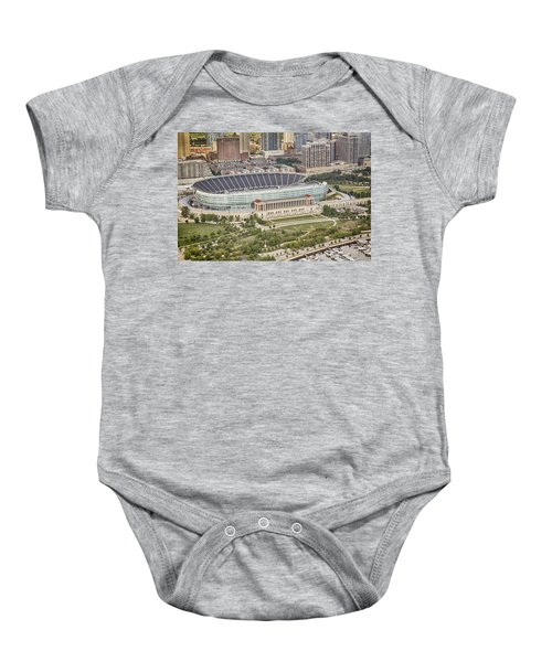 Baby Onesie featuring the photograph Chicago's Soldier Field Aerial by Adam Romanowicz