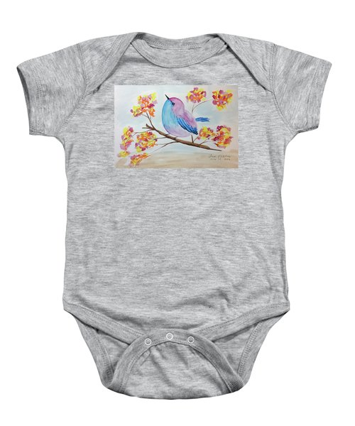Chickadee On A Branch With Head Up Baby Onesie