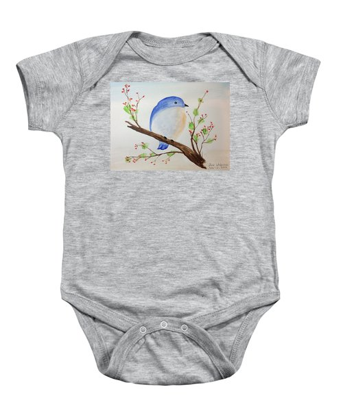 Chickadee On A Branch With Leaves Baby Onesie