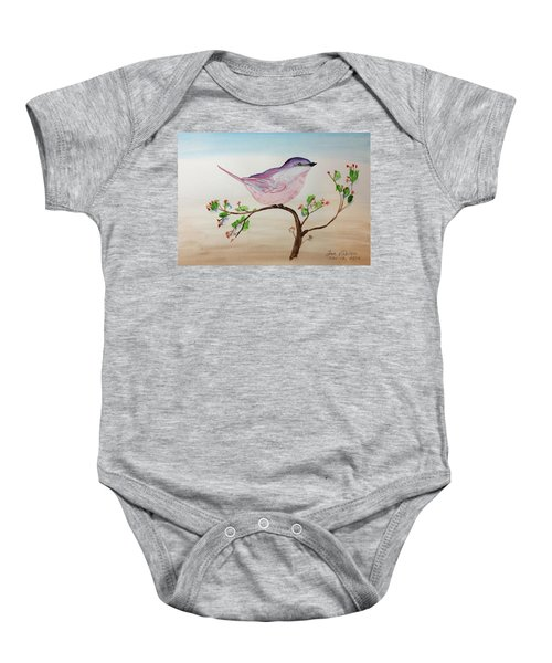 Chickadee Standing On A Branch Looking Baby Onesie
