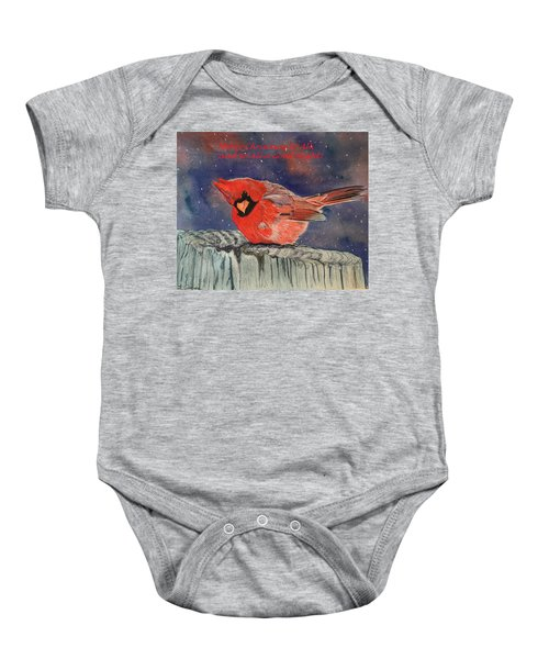 Chilly Bird Christmas Card Baby Onesie