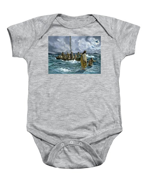 Christ Walking On The Sea Of Galilee Baby Onesie
