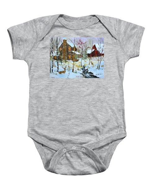Christmas Cabin Baby Onesie