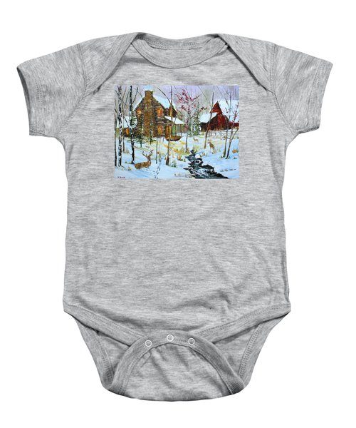 Christmas Cabin Baby Onesie