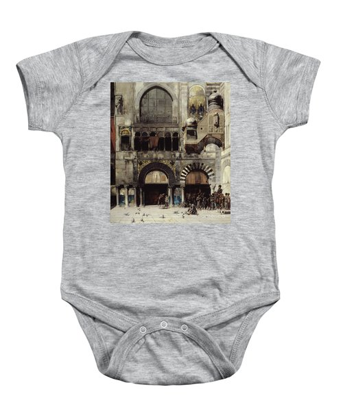 Circassian Cavalry Awaiting Their Commanding Officer At The Door Of A Byzantine Monument Baby Onesie