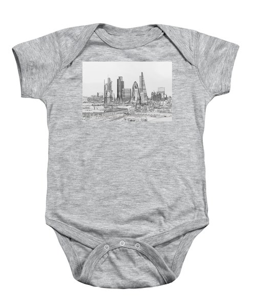 City Of London Outline Poster Bw Baby Onesie