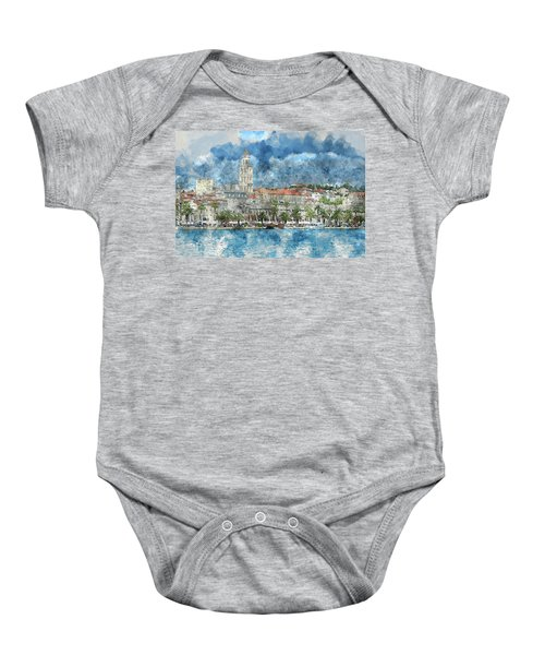 City Of Split In Croatia With Birds Flying In The Sky Baby Onesie
